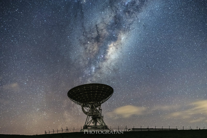 Milky way with satellite dish