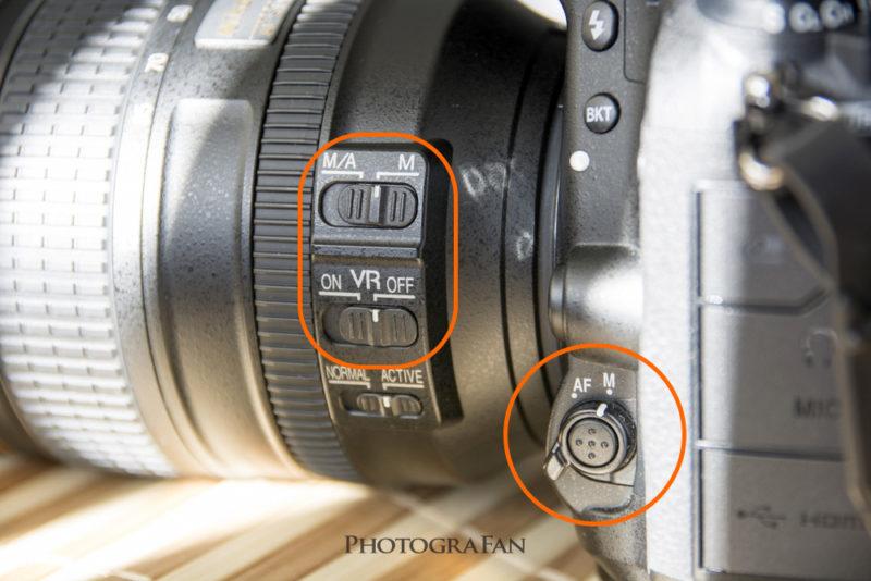 レンズをマニュアルモードに切り替え