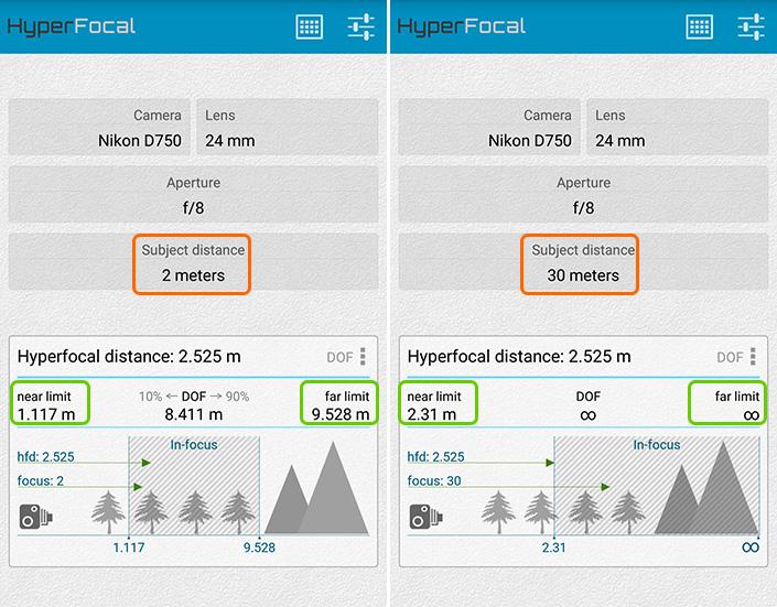 HyperFocal Proのキャプチャー画像 ピント合わせ位置を変更