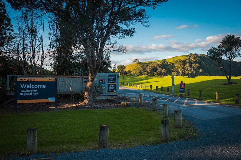 Tawharanui Regional Parkの入り口ゲート