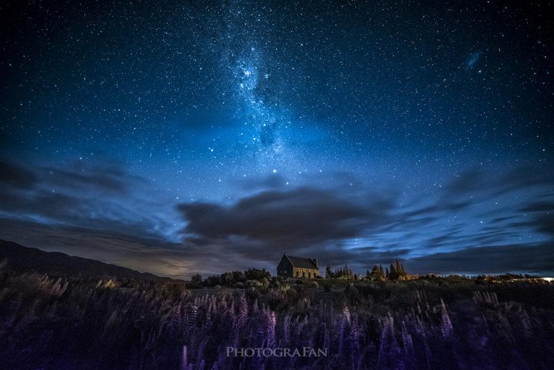 テカポの天の川と星空とルピナス