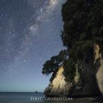 ニュージーランドの人気観光地Cathedral Coveで星空・天の川撮影
