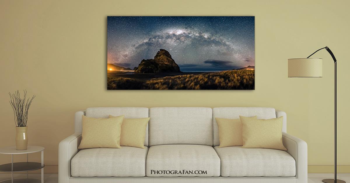 天の川のパノラマ写真をアクリル印刷