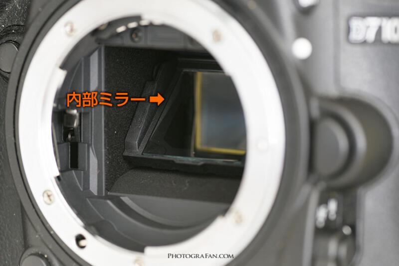 一眼レフカメラ内部のミラー:斜めから